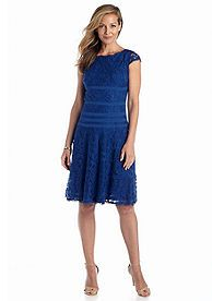 Adrianna Papell Cap-Sleeve Fit and Flare Lace Dress