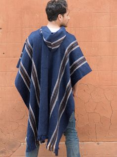 Navy Blue poncho alpaca poncho cover-up warm winter cover up