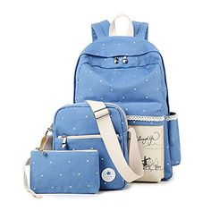 SymbolLife Casual Style Lightweight Canvas Laptop Bag/ Shoulder Bag/ Bookbag/ School Backpack with Cross-body Bag and Purse/Pen Bag, Decorate the Backpack with Fresh Windmill Draw Light Blue