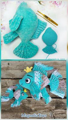 For Beginners Toys Amigurumi fish, crochet toy Crochet Gratis, Crochet Patterns Amigurumi, Crochet Dolls, Free Crochet, Crochet Crown Pattern, Crochet Stitches Patterns, Pattern Paper, Baby Fish, Fish Fish