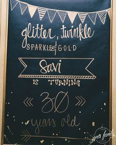 Glitter, Twinkle, Sparkle & Gold | The Jones Family Five Black & Gold 30th Birthday Party Decor Ideas