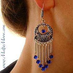 MettaMoon Silver Mesh Dark Blue Quartz Dangle Earrings  ღ☼.. www.METTAMOON.com .☮..♫