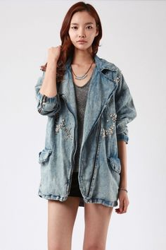 Oversized pearl & studded embellished jean jacket. Love!