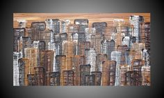 Abstract Acrylic Painting on large Canvas City by acrylkreativ, $290.00