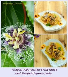 Tilapia with Passion Frui Sauce and Toasted Sesame Seeds