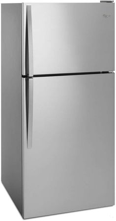 in Monochromatic Stainless Steel by Whirlpool in Seattle, WA - Wide Top Freezer Refrigerator - 18 cu. Double Door Refrigerator, Stainless Steel Refrigerator, Stainless Steel Doors, Top Freezer Refrigerator, Slide Out Shelves, Glass Shelves, Cantilever Shelf, Hot Water Dispensers, Door Storage