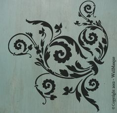 "Floral Scroll (10"" x 8.9"") - Beautiful and versatile stencil. $7.00, via Etsy."