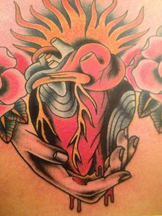 anatomical heart tattoo fire - Google Search