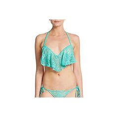 Luli Fama Ruffle Lace Bikini Top ($40) ❤ liked on Polyvore featuring swimwear, bikinis, bikini tops, turquoise, neck-tie, swimsuit tops, ruffle bikini bottom, lace bikini and flounce halter bikini top