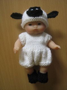 """Cute lamb outfit for 5"""" doll.  Available as a knitting pattern at www.ravelry.com"""