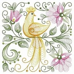 Rippled Floral Birds 10 - 3 Sizes! | Quilt | Machine Embroidery Designs | SWAKembroidery.com Ace Points Embroidery