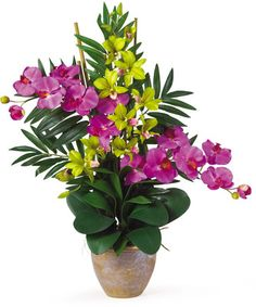 Nearly Natural Double Phal/Dendrobium Silk Orchid Arrangement