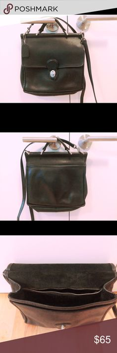 """Vintage Coach Crossbody Handbag Black leather *Silver hardware  *Top handle  *Leather """"Coach"""" embossed Tag *good vintage condition - normal vintage wear and scuffing   Measurements: Width from side to side – Approx. 10"""" Height from top to bottom – Approx. 10"""" Depth – Approx. 3"""" Strap drop length (non adjustable) – Approx. 22"""" Coach Bags Crossbody Bags"""