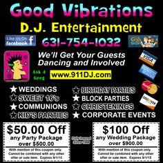 Good Vibrations DJ Entertainment Coupons Facebook Likes, Block Party, Best Vibrators, Sweet 16, Christening, Coupons, Dj, Entertainment, Sweet Sixteen