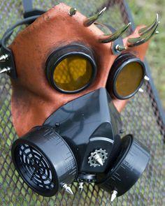 Leather art Bull Gas mask handmade LARP burning by MonkeyDungeon, $169.99