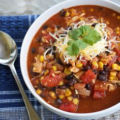 CHICKEN TACO SOUP~ 1 white onion chopped finely, 1 (16 oz) can chili beans, 1 (15 oz) can black beans drained and rinsed, 1 (15 oz) can whole kernel corn drained, 1 (8 oz) can tomato sauce, 2 (10 oz) cans diced tomatoes with green chiles, 1 (1.25 oz) package taco seasoning, 3 whole skinless boneless chicken breasts thawed or frozen.