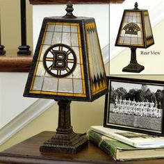 Boston Bruins art glass lamp - $63.99, this would look great in a home office.