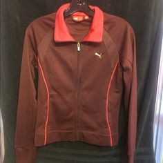 """Puma women burgundy and gold logo jacket Puma women jacket Size: S Color: Burgundy Material: 85% Polyester & 15% Cotton Style: Zipper front jacket  Measurents:   Arm To Arm: 17"""" Waist: 15""""  Lenght: 22-1/2""""  GREAT CONDITION  Like New Come from a smoke/pet fre home... Puma Other"""