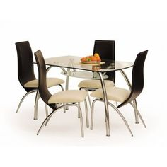 Masa din sticla Corwin Bis, L125xl75x72 cm bucatarie. Blatul acestei mese elegante este fabricat din sticla ultradura. Pret: 515 Ron. Dining Chairs, Dining Table, Chrome, Metal, Furniture, Home Decor, Design, Products, Decoration Home