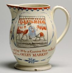 Content in a Cottage: Antique Leeds Pottery Jug Advertising The Otley Market