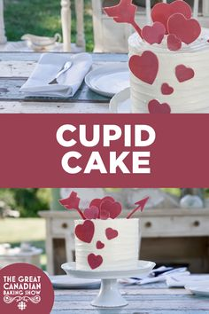 Cupid cake is a vertically-striped red velvet cake with a Swiss meringue buttercream icing. It's topped with heart-shaped ruby chocolate decorations — perfect for that special someone in your life. Velvet Cake, Red Velvet, How To Temper Chocolate, Star Baker, Melting White Chocolate, Swiss Meringue Buttercream, Baker Recipes, Caking It Up, Gel Food Coloring