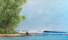 Wish You Were Here - Tropical surf art by Eco Surf Artist Scott Denholm #surfart #surfing #tropical