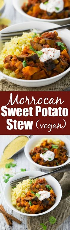 This Moroccan chickpea & sweet potato stew with eggplant and couscous is the perfect weeknight dinner: easy to make, healthy, and filling!: