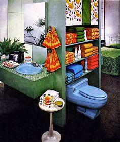 1960s Decor, Retro Home Decor, 1960s House, Vintage Interior Design, Dream Bathrooms, Decorative Items, Office Decor, 1970s, Retro Vintage