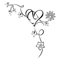 Heart, birth flower tattoo..thinking about something like this for my next tattoo. But somehow inter twine Hunter and our baby girl's name