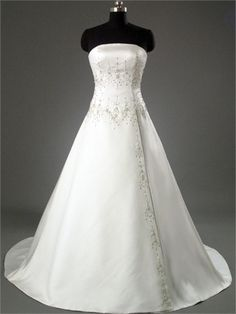 Ivory Strapless Scalloped Neckline with Beadings Chapel Train A-Line Satin Wedding Dress WD1007 www.tidedresses.co.uk $232.0000