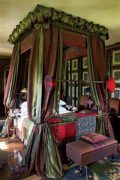 Bedroom Design, Elegant Canopy Bed Ideas With Elegant Curtains Design With Green And Indian Red Maroon Combination Color Also Elegant Modern...