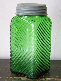 I am collecting these, my mom had a set and I NEED them :) Antique Bottles, Vintage Bottles, Bottles And Jars, Antique Glass, Vintage Glassware, Glass Jars, Vintage Mason Jars, Vintage Green Glass, Storage Jars