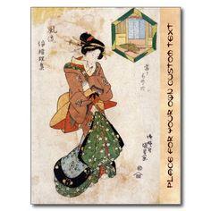 Cool japanese vintage ukiyo-e geisha lady scroll postcards