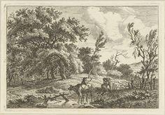 Hermanus Fock | Landschap met stier en veehoeder, Hermanus Fock, 1781 - 1822 | In een glooiend landschap staat een stier in ondiep water. Achter de stier staat een veehoeder en in het gras zitten een man en een vrouw. Op de achtergrond leidt een slingerend pad het bos in.