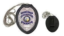 "Recessed black leather badge holder.  Features a sturdy metal belt clip plus a 30"" neck chain. Velcro closure allows easy access to pin your badge into the recessed cut-out. Your choice of shield cut, to complement the badges sold here, or star cut to fit Florida County Sheriff badges.  $14.95"