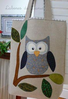 Bolso buho - Fowl Tutorial and Ideas Fabric Bags, Fabric Scraps, Crochet Shoulder Bags, Diy Bags Purses, Denim Crafts, Owl Crafts, Owl Patterns, Boho Bags, Jute Bags