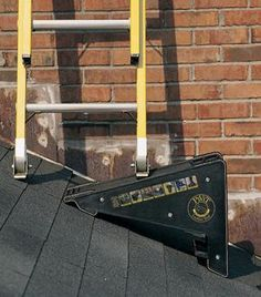 The PiViT Ladder Tool is the ultimate extension ladder leveler. This ladder leveler is a must have for any extension ladder owners. Ladder Leveler, Ladder Stabilizer, Ladder Accessories, Ladder Stands, Corrugated Roofing, Asphalt Roof Shingles, Roof Structure, Gambrel, Roof Design
