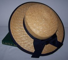 Laura Ashley Vintage summer straw boater hat sailor navy wrapped ribbon tie bow