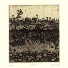 Etching with chine-collé Underground condition and Sprout