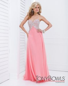 63dd8cae0ce9 Tony Bowls Evenings TBE11416 Coral/Blue/White/Yellow Dress: Long, Strapless