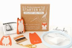 DIY embroidered fox doll starter kit by kirikipress on Etsy Fox Embroidery, Dmc Embroidery Floss, Embroidery Scissors, Learn Embroidery, Modern Embroidery, Embroidery For Beginners, Hand Embroidery Patterns, Embroidery Needles, Embroidery Techniques