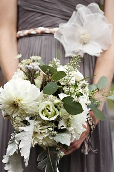 Gray dress, green/white flowers. Just add a hint of orange and it'll be perfect.
