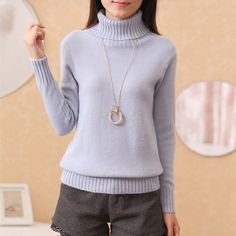 2017 New Winter Women Turtleneck Pullover Sweaters Fashion Solid Cashmere  Sweaters and Knitwear Slim Elastic Bottoming b4903f04e