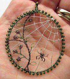 Bead & Wire Spider Web - Autumn Morn
