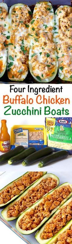 Chicken Zucchini Boats Buffalo Chicken Zucchini Boats - simple stuffed zucchini that only calls for four ingredients!Buffalo Chicken Zucchini Boats - simple stuffed zucchini that only calls for four ingredients! Chicken Zucchini Boats, Zucchini Squash, Avocado Chicken, Chicken Salad, Zucchini Boat Recipes, Garlic Chicken, Stuffed Zucchini Boats, Chicken Meals, Beef Recipes