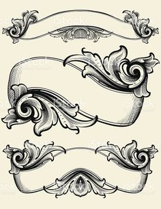 Engraved Ribbons royalty-free stock vector art