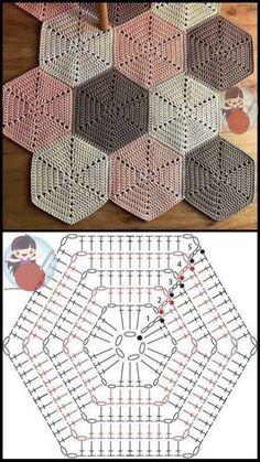 Crochet Motifs, Crochet Blocks, Granny Square Crochet Pattern, Crochet Diagram, Crochet Chart, Crochet Squares, Crochet Hexagon Blanket, Granny Square Blanket, Hexagon Quilt