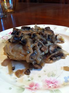 Chicken Marsala. Recipe from accenthealth.com. This is a picture I took after making it myself. Chicken cooked in a marsala wine sauce topped with mushrooms and shallots.