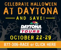 """Join us for a Halloween themed All-Access Tour from Oct. 22-29 with decorations, trick-or-treating for kids in costume and a """"Best Costume"""" photo contest for kids 12 & under with the winner receiving four tickets to the DAYTONA 500 on Sunday, Feb. 24."""