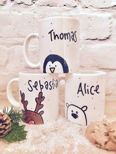 Personalized Christmas mug mug of hot chocolate on Christmas Eve penguin Rudolph reindeer Diy Christmas Mugs, Personalized Christmas Mugs, Personalized Mugs, Christmas Crafts For Kids, Homemade Christmas, Family Christmas, Christmas Eve Box Ideas For Adults, Christmas Glasses, Reindeer Christmas